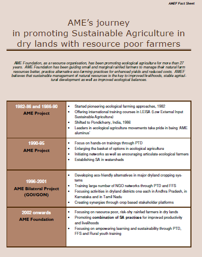 AME's journey in promoting Sustainable Agriculture in dry lands with resource poor farmers